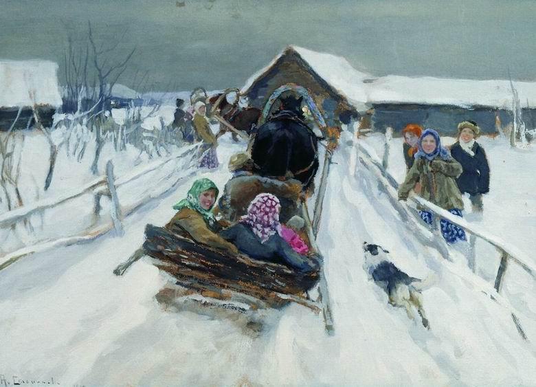 Зима в картинах русских художников.